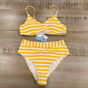 NWT Cupshe yellow white stripe ribbed medium